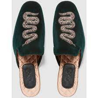 Green Velvet Lawrence Crystal Snake Mules/Slides