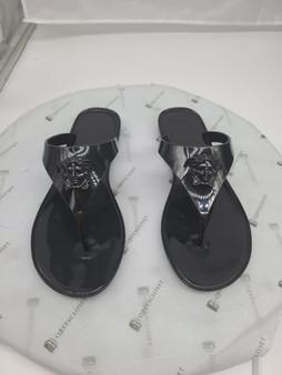 Black Versace Medusa Head Flip Flops