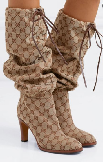 Leather-trimmed coated-canvas knee boots