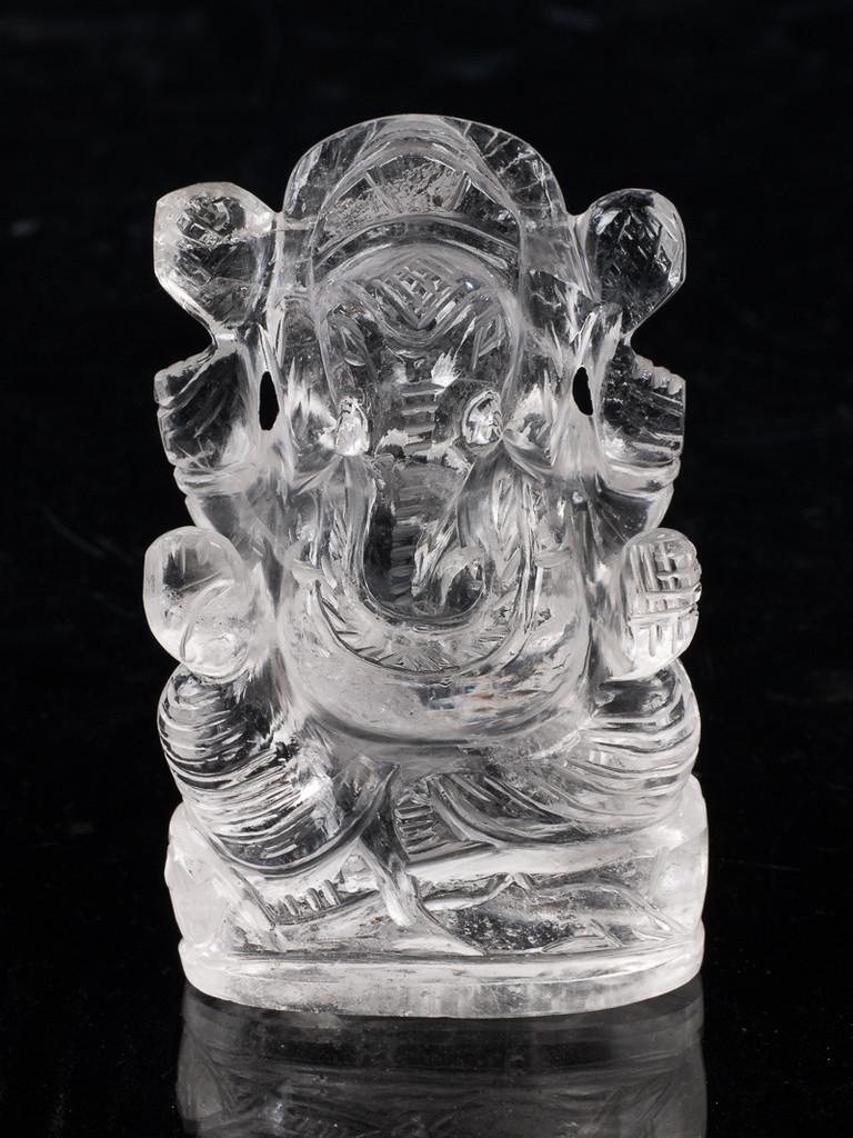 Ganesh Clear Quartz carving