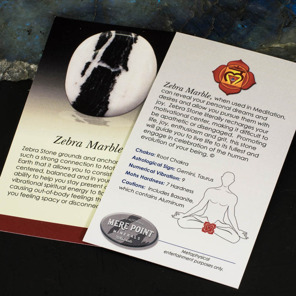Zebra Marble Description Card