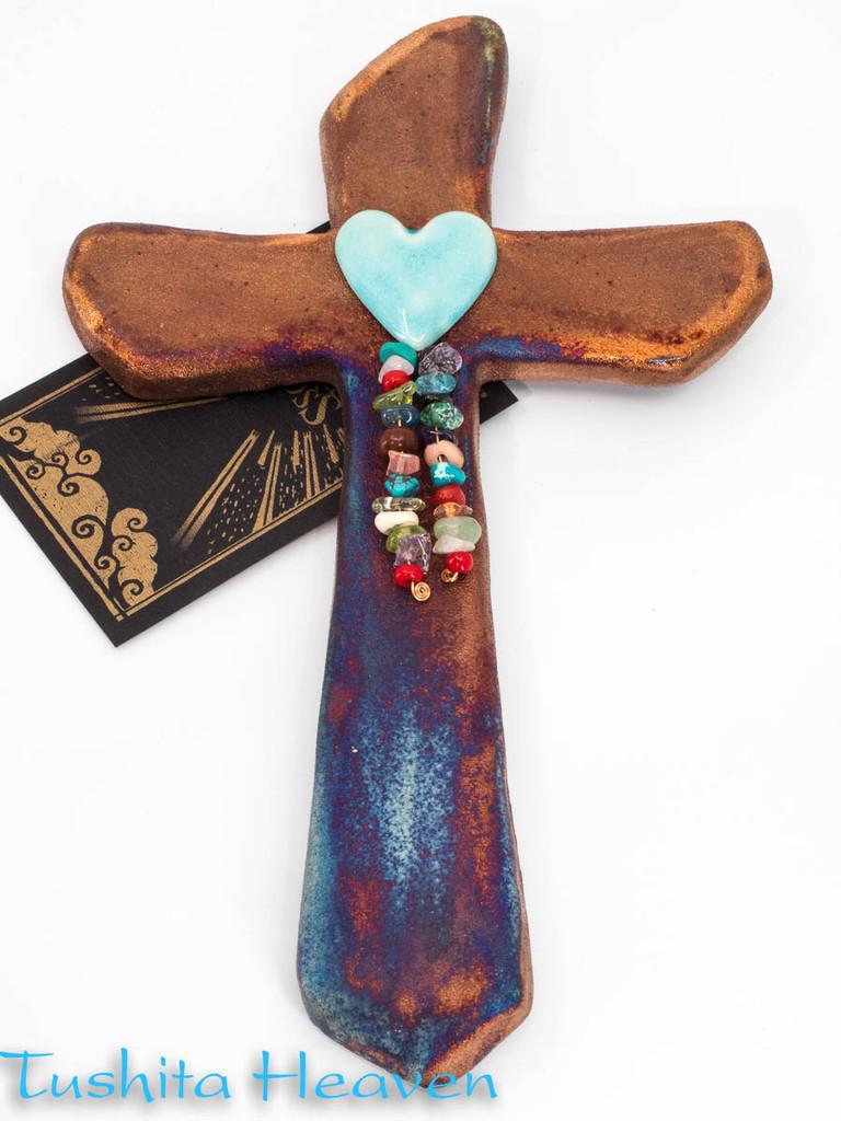 Raku Pottery Cross with heart