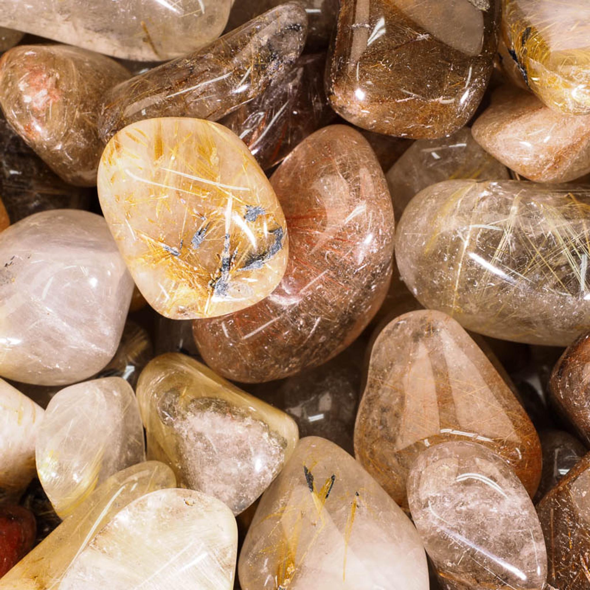 Gold Rutile Quartz Polished Tumbled Gemstone Small