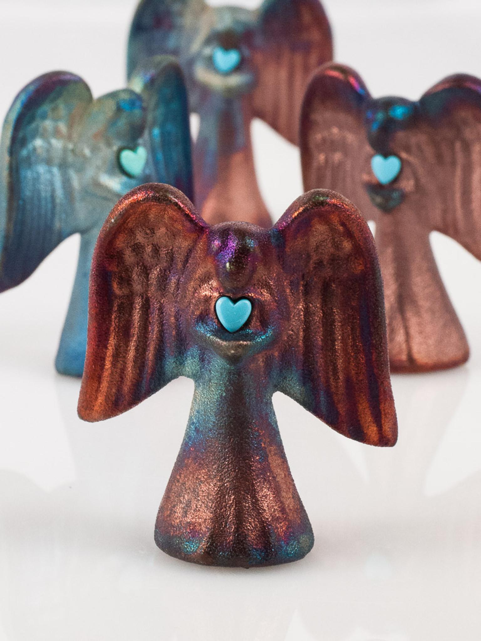 RAKU hearts coupon code 2RAKU SET of TWO for 20 with coupon worry stone Angel charm handmade pottery good luck charm medallion