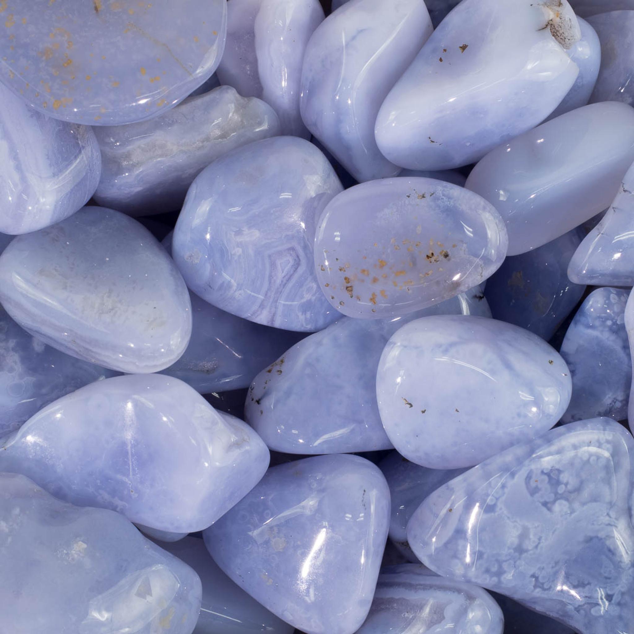 Blue Chalcedony Tumbled Stones | Healing Stones | Polished Stones