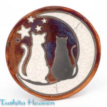 Cat & Moon Raku Coaster