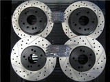 Package -STOPTECH Drilled & Slotted Rotors with STOPTECH Ceramic Pads - Front and Rear