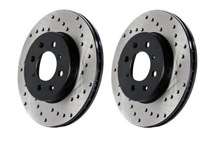 Stop Tech Power Slot 05-10 Mustang GT V8-4.6L Front Left Drilled Rotor