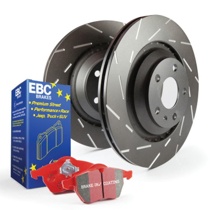 EBC Red Stuff brake pads and slotted rotors