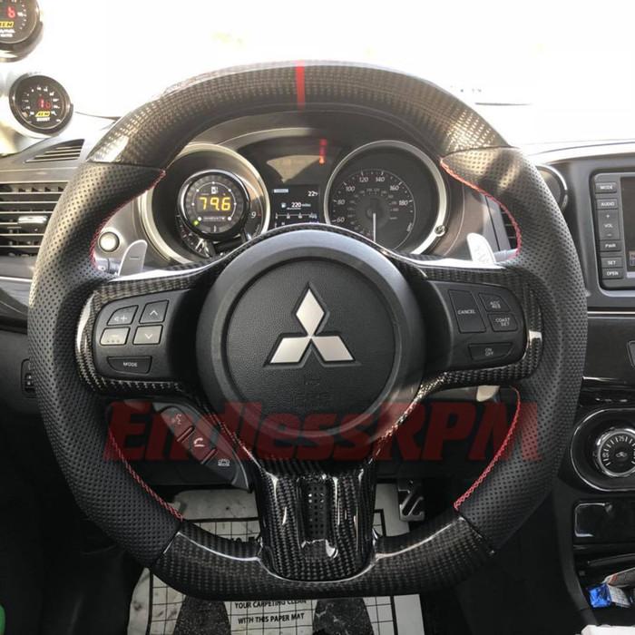 Custom Steering Wheel (2008-2015 Mitsubishi Evolution) - evolution forged carbon steering wheel
