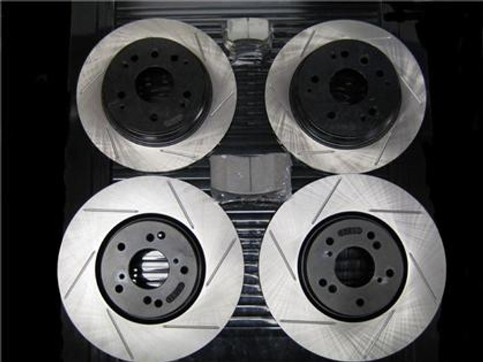 Package -STOPTECH Slotted Rotors with STOPTECH Ceramic Pads - Front and Rear