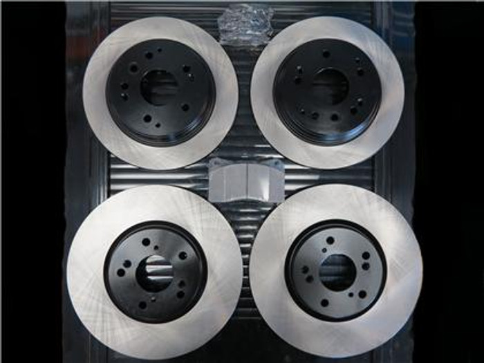 Package - STOPTECH Premium Blank Rotors with STOPTECH Ceramic Pads and Stainless Steel Brake Lines - Front and Rear