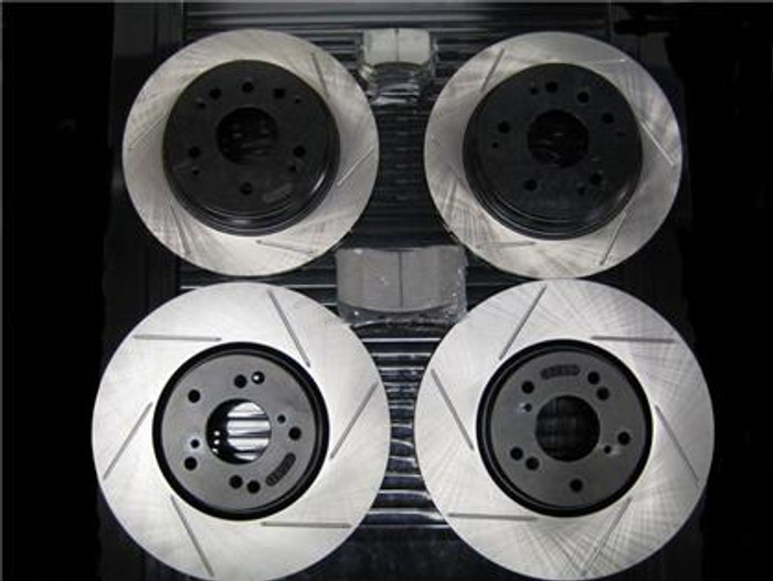 Package - STOPTECH Slotted Rotors with STOPTECH Ceramic Pads and Stainless Steel Brake Lines - Front and Rear