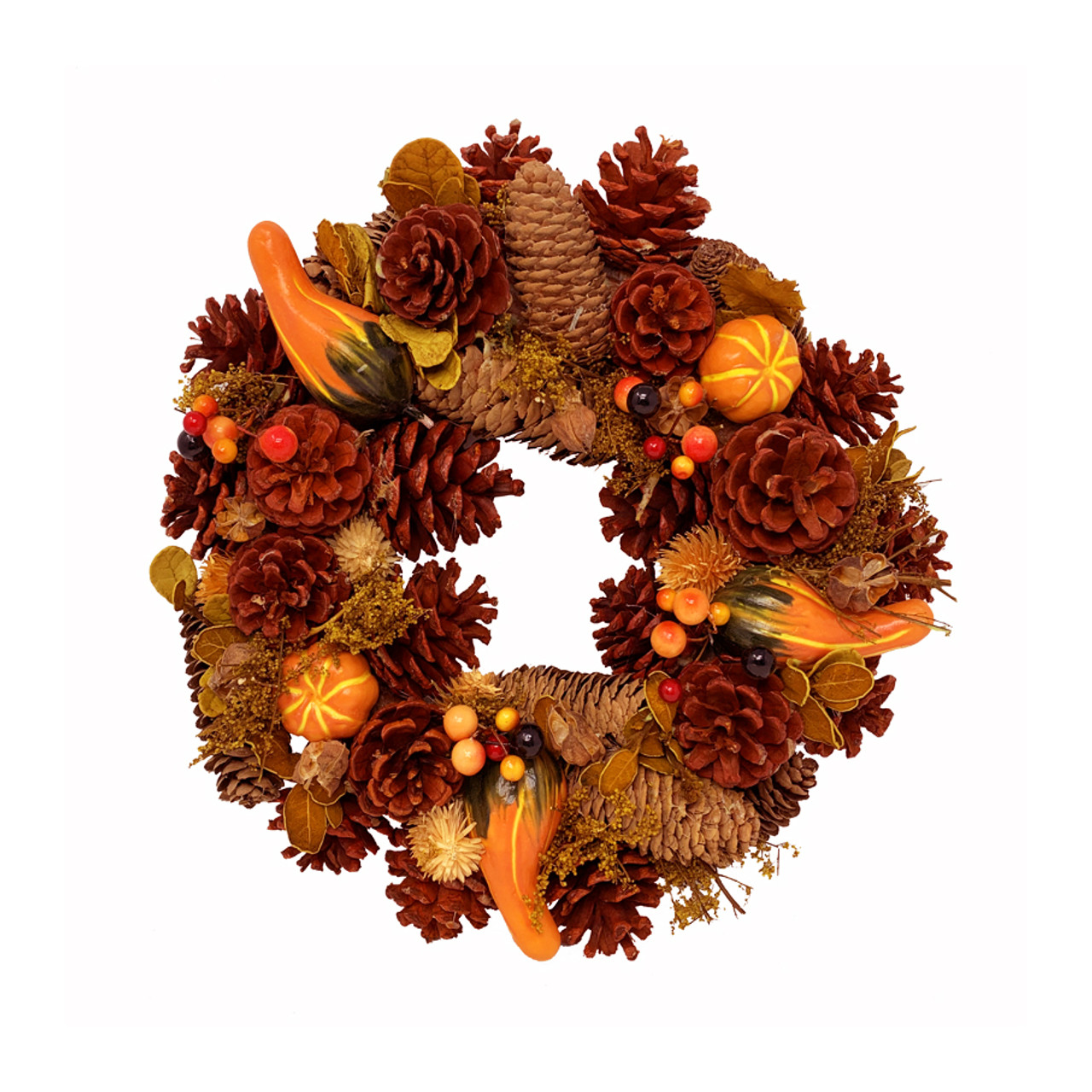 Autumn Wreath With Artificial Fruits Dried Flowers And Cones 30cm 12in