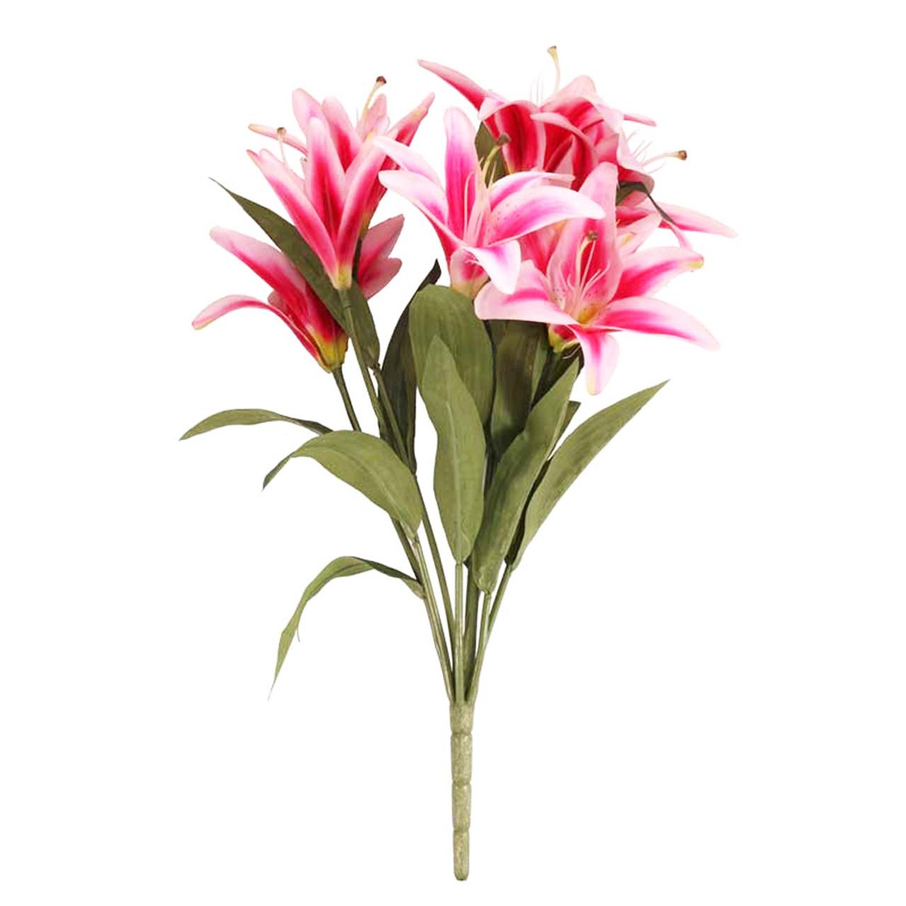 Lily Bunch Artificial Flowers 9 Stem X 50cm Dark Pink
