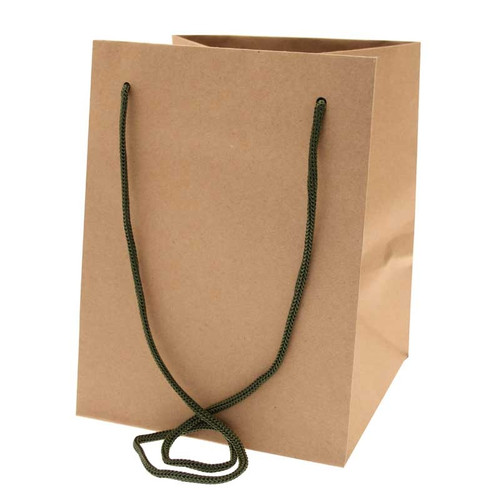 Bouquet Bag 19 x 19 x 25cm Pack of 10 Kraft with Green Handle