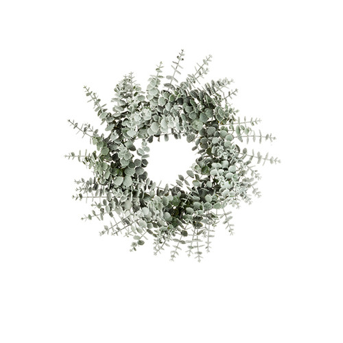 Spiral Artificial Eucalyptus Frosted Winter Wreath 60cm