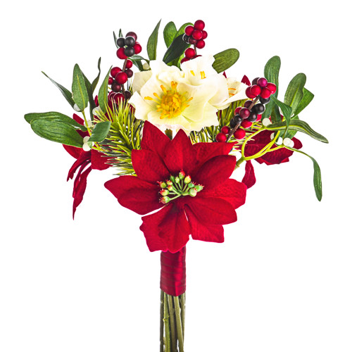 Christmas Rose Mixed Bouquet Poinsettia Mistletoe Pine and Berries 30cm