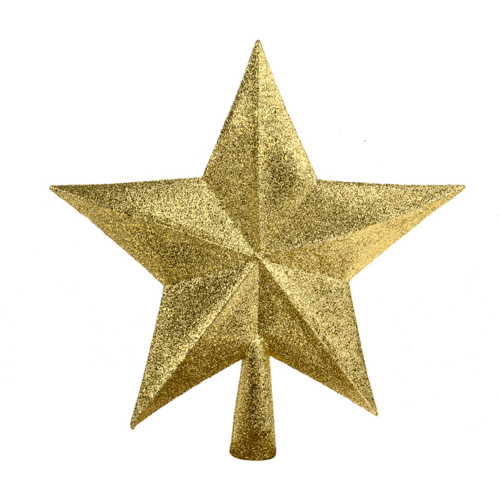 Christmas Glitter Star Tree Topper 22cm/8.5 Inches Gold