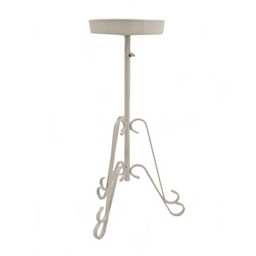 Metal Church Flower Stand Bowl Top White