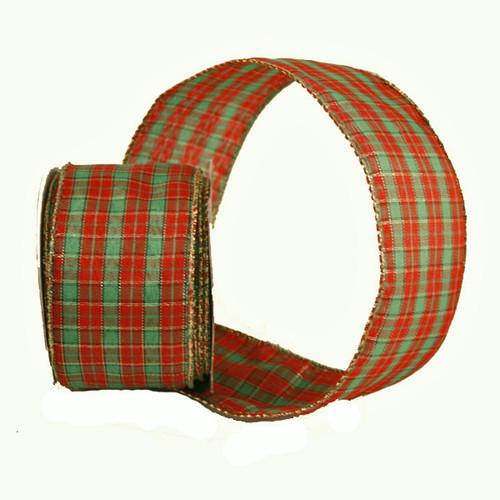 Christmas Tartan Ribbon Fine Check 63mm