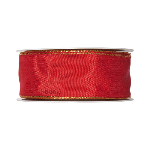 Red Taffeta Ribbon 40mm wide x 25m with a Gold Edge