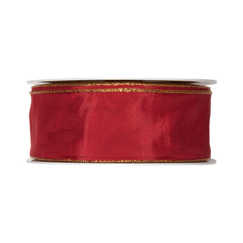 Ruby Red Taffeta Ribbon 40mm wide x 25m with a Gold Edge