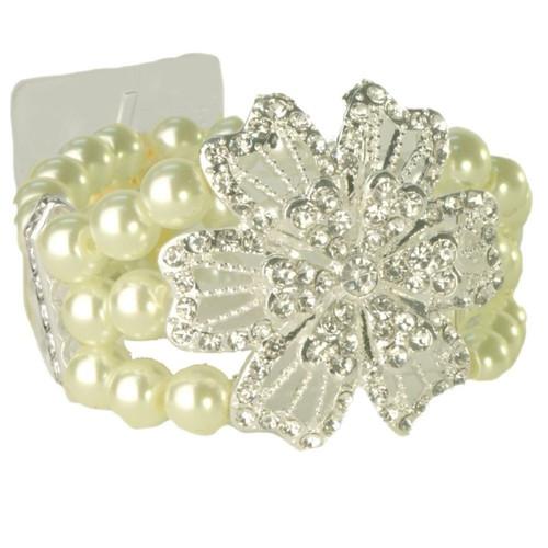 Diamante Pearl Wrist Corsage Bracelet Vintage