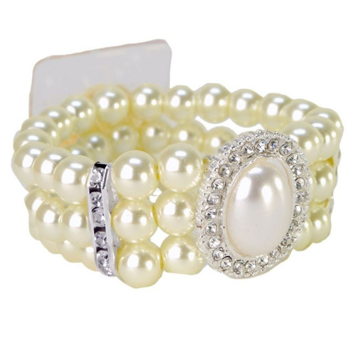 Cream Pearl and Diamante Wrist Corsage Bracelet Vintage