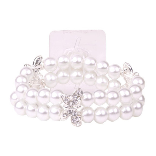 Corsage Wrist Band White Pearls and Silver Butterflies