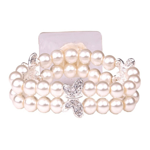 Corsage Wrist Band Cream Pearls and Silver Butterflies