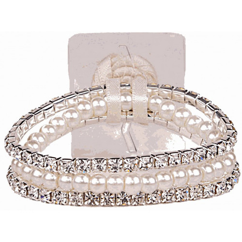 Corsage Wrist Band Sarina Narrow Diamonte and Pearls Cream