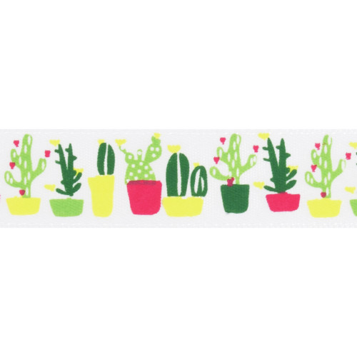 Satin Ribbon White 15mm Wide x 25m Roll with Cactus Print