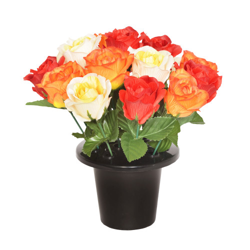 Grave Pot Artificial Open Rose Red Orange Yellow
