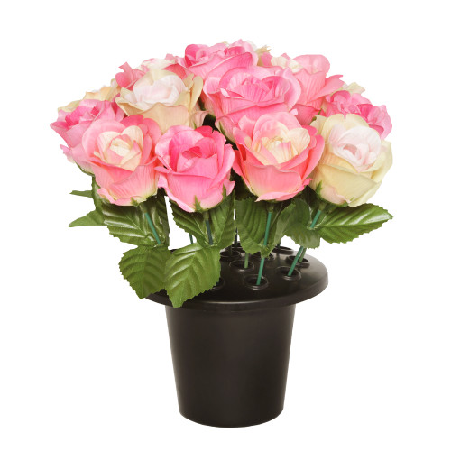 Grave Pot Artificial Open Rose Pink & Vintage Cream