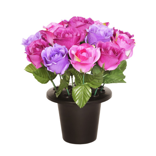 Grave Pot Artificial Open Rose Mauve