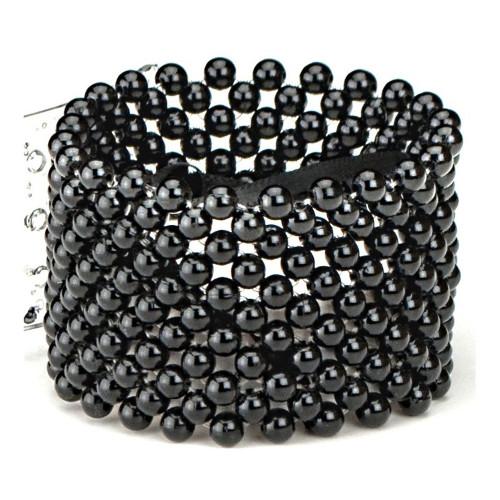 Wrist Band Pearl Corsage 4cm Black