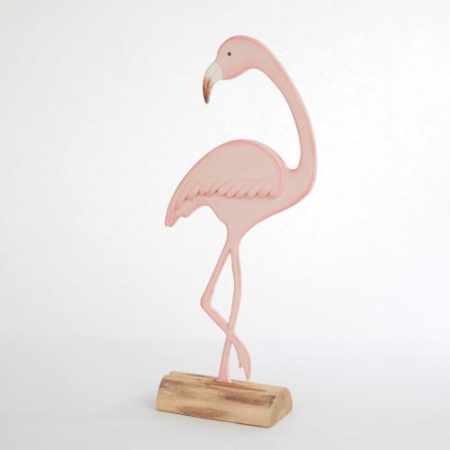 Wooden Pink Flamingo Decorative Figure 40cm