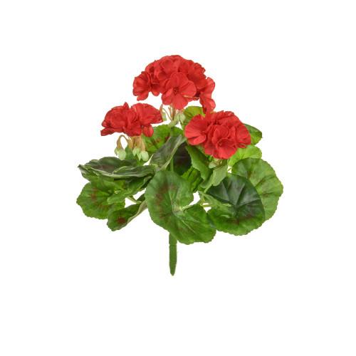 Geranium Bush Artificial Silk Upright 23cm Red