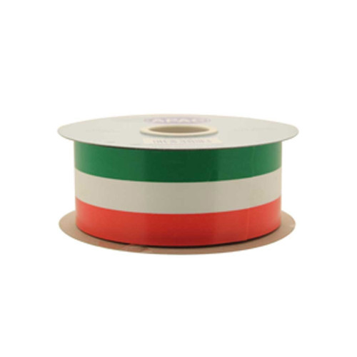 Tri-Colour Poly Florist Ribbon 50mm x 91m Green White Orange