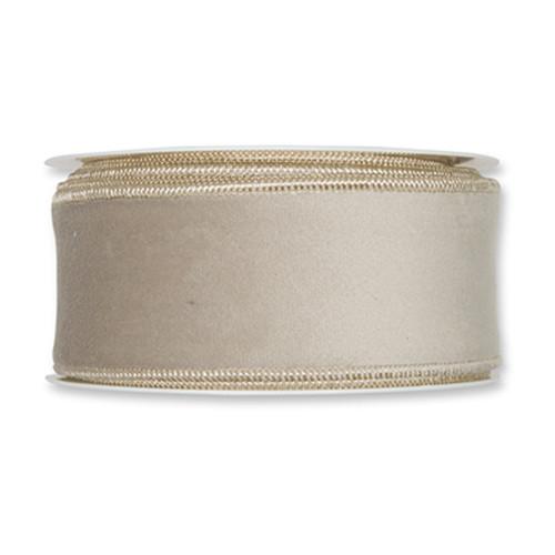 Velvet Fabric Ribbon 50mm x8m Linen