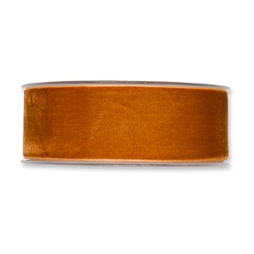 Velvet Fabric Ribbon 38mm Wide x 9.5m Cognac