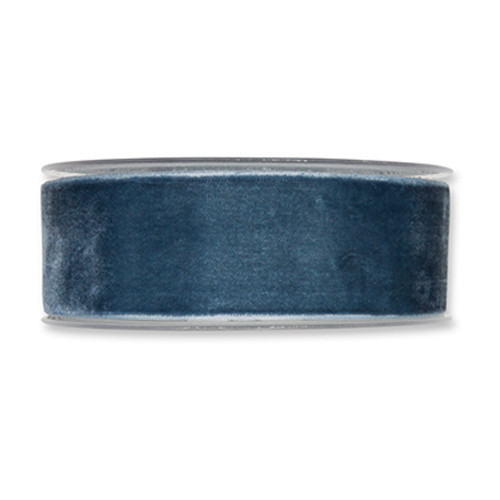 Velvet Fabric Ribbon 38mm Wide x 9.5m Dusky Blue