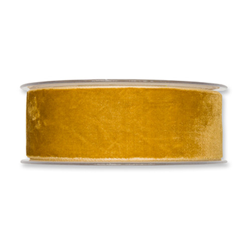 Velvet Fabric Ribbon 38mm Wide x 9.5m Honey Yellow