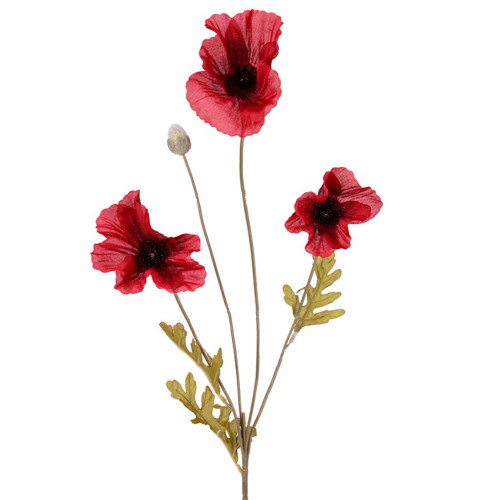 Poppy Stems Red Artificial Silk 60cm Bundle of 6