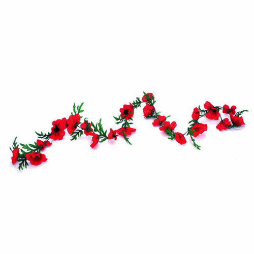 Poppy Flower Garland Artificial Red 1.8m/6ft