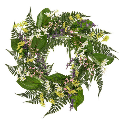 Country Bloom Mixed Artificial Silk Flower And Leaf Wreath 61cm/24 Inches