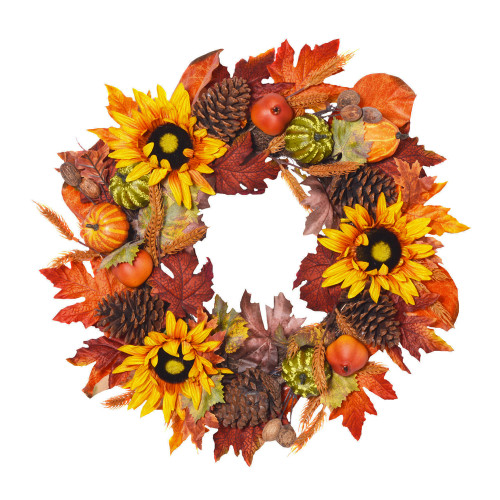 Luxury Artificial Autumn Wreath With Fruits And Foliage 60cm/24 Inches