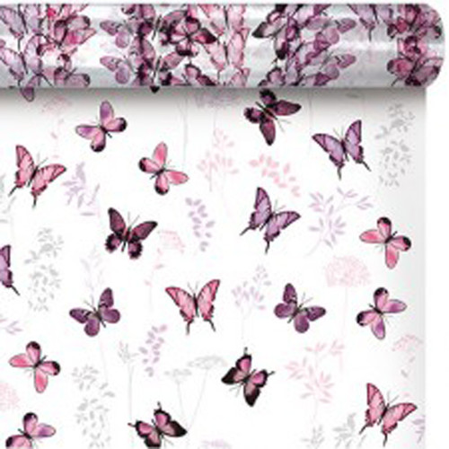 Cello Roll Clear with Purple Butterflies