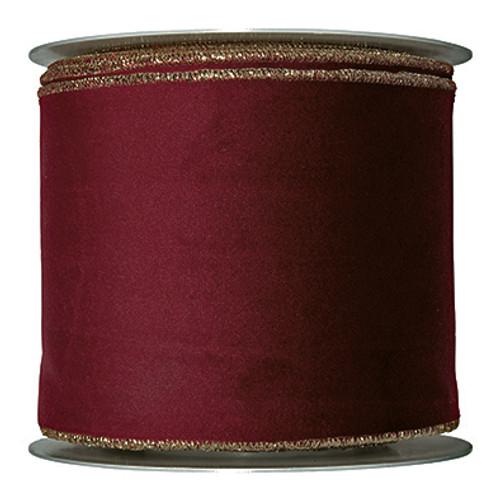 Velvet Fabric Ribbon 100mm x 8m Burgundy Red with Gold Edge